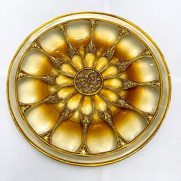 VINTAGE CLEAR&GOLD DECORATIVE WALL PLATE